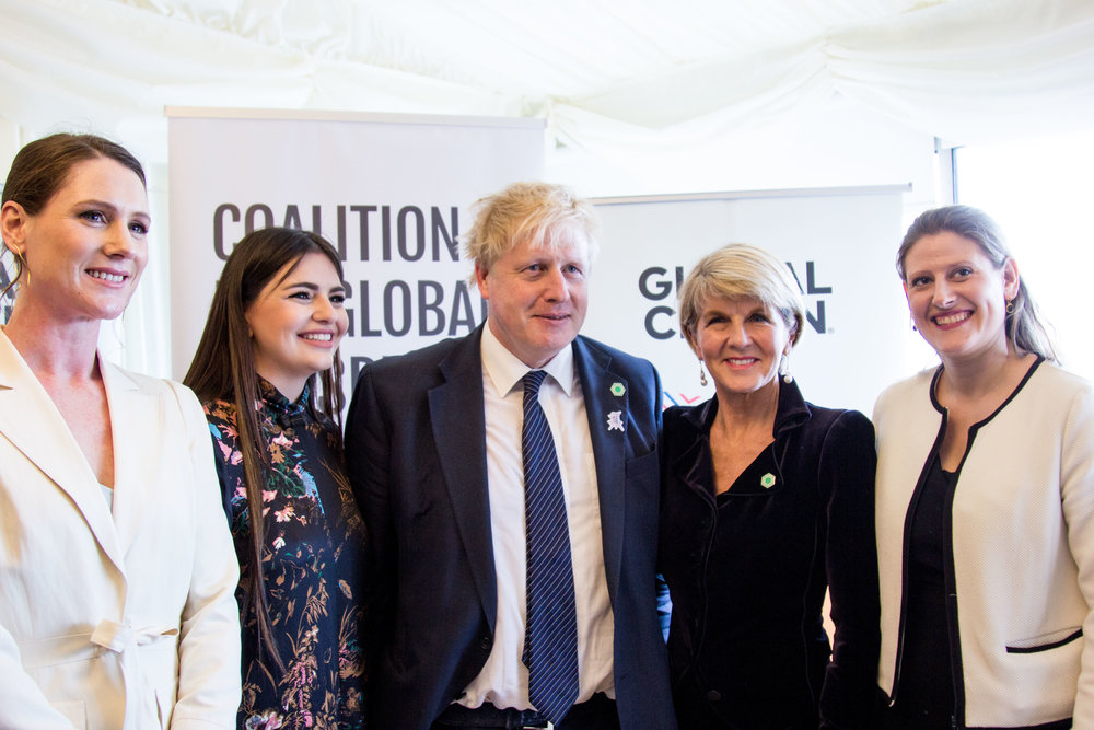 From left to right: Europe Director of Global Citizen    Amy Agnew   , Singer and Eurovision finalist    Christabelle Borg   , The Foreign Secretary    Boris Johnson MP   , Australian Minister for Foreign Affairs    Julie Bishop MP    and Founder & Chief Executive CEO    Theo Clarke