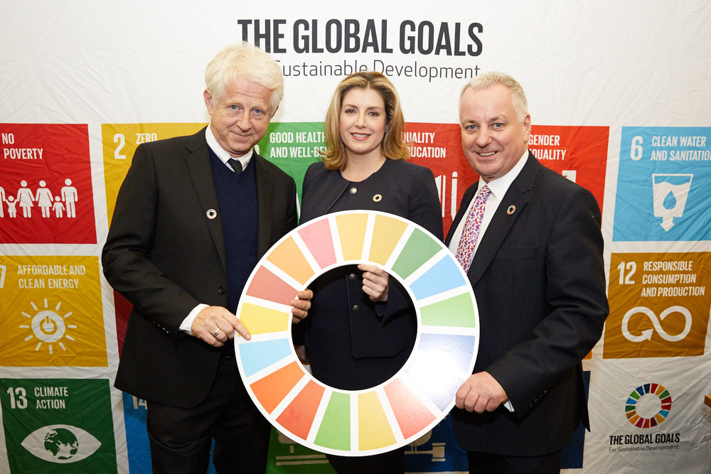 Richard Curtis CBE, DFID Secretary the Rt Hon Penny Mordaunt MP, and former First Minister of Scotland the Rt Hon the Lord Jack McConnell