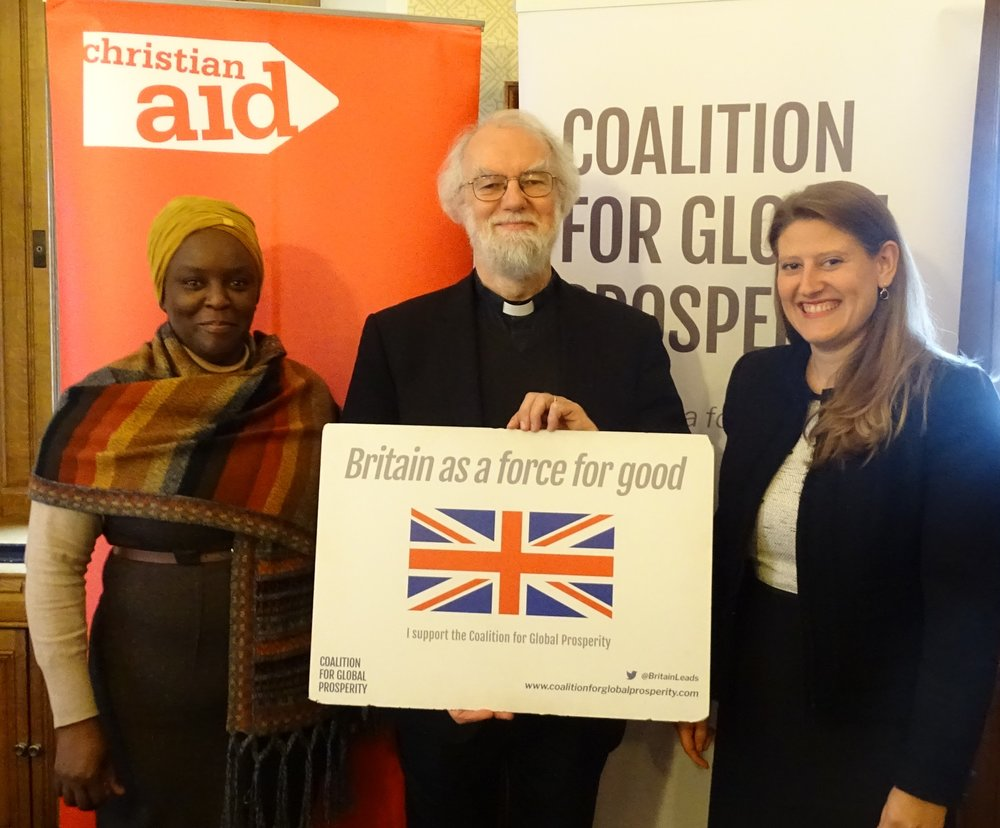 Amanda Mukwashi (CEO, Christian Aid), Lord Rowan Williams, Theo Clarke (CEO, Coalition for Global Prosperity)