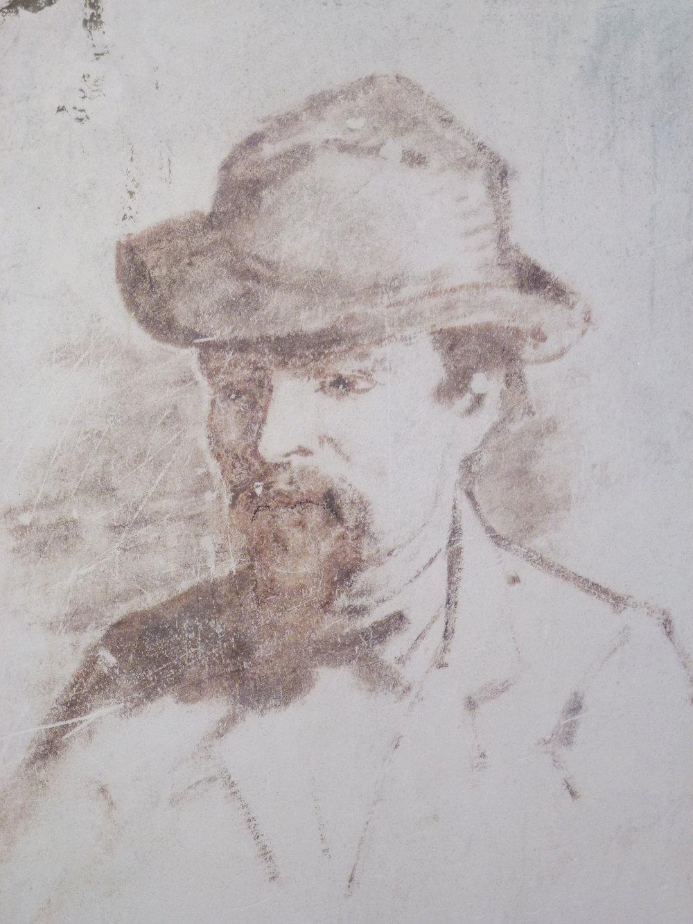 Graffiti sur l'un des murs de l'Auberge Ganne,musée de l'École de peinture de Barbizon