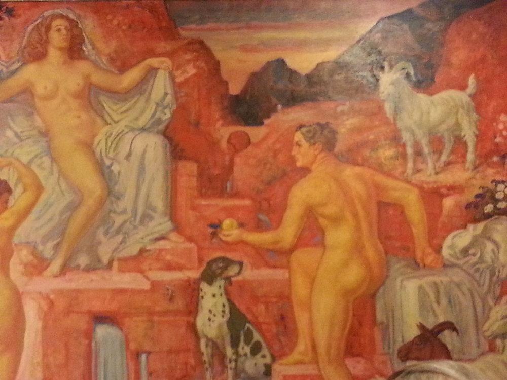 Détail de l'oeuvre de Charles L'Eplattenier, qui orne les murs de la salle de dégustation de l'ancienne Brasserie Müller