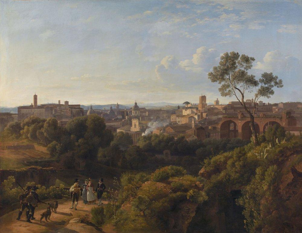 La Vue de la Rome moderne (1816) de Maximilien de Meuron porte le N°2 de la collection et est donc l'une des deux toiles à l'origine du MahN