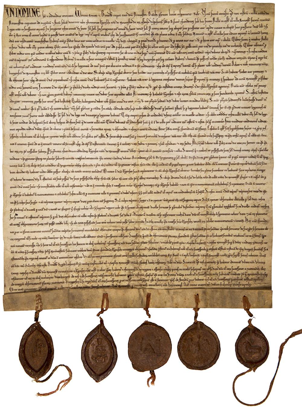 Charte de franchises de Neuchâtel rédigée en avril 1214 par Ulrich et Berthold de Neuchâtel