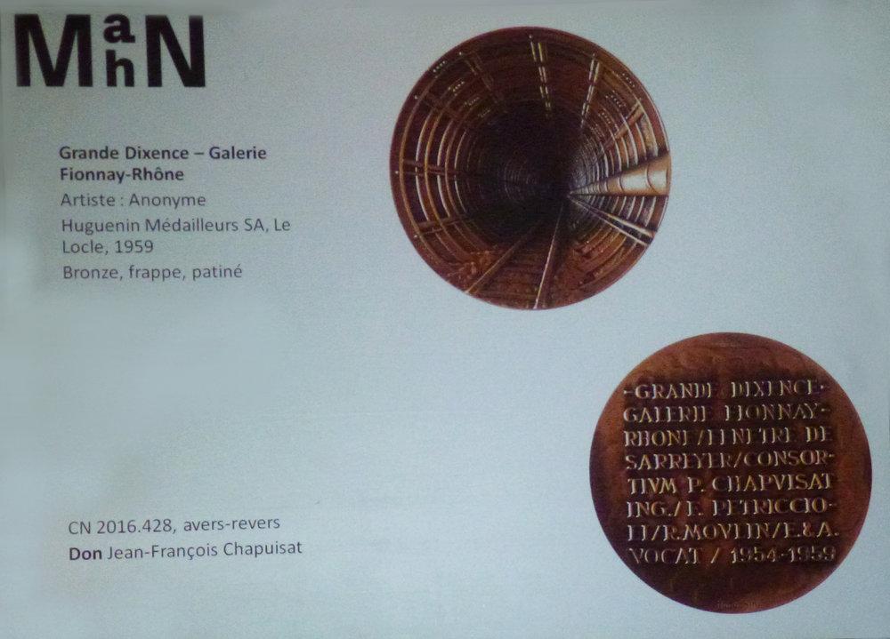 L'un des dons de l'année 2016 : une médaille qui commémore la réalisation de la Grande Dixence, et qui s'inscrit admirablement dans les collections du MahN