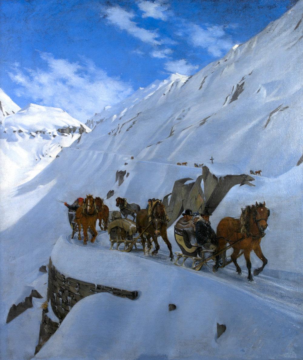 Convoi de la poste au Saint-Gothard en hiver  de Jules Jacot Guillarmod, 1879, Huile sur toile