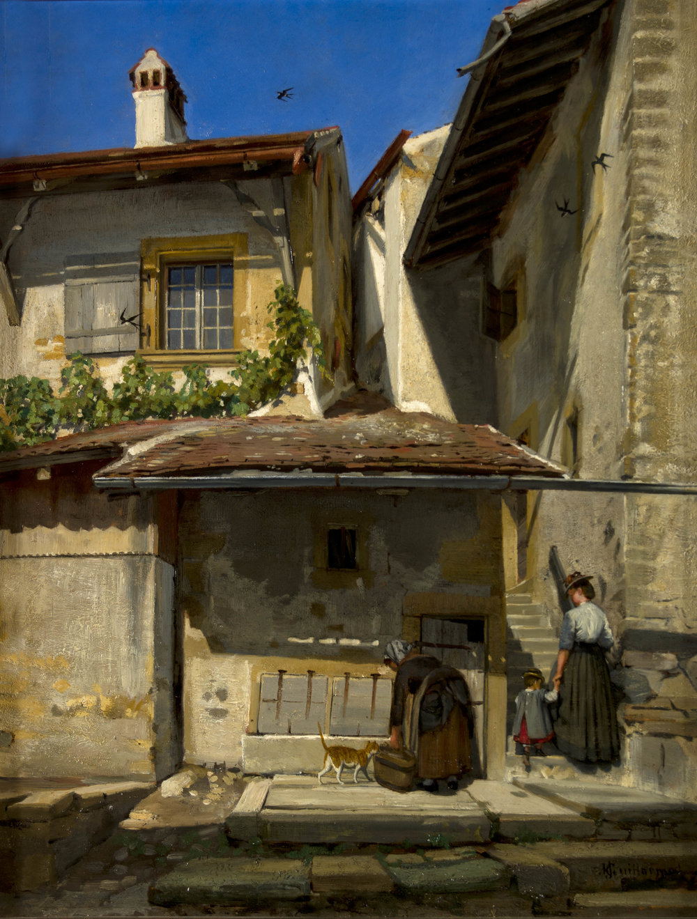 Haut du village de Saint-Blaise  de Jules Jacot Guillarmod, sans date, huile sur bois, 54,5 x 42 cm
