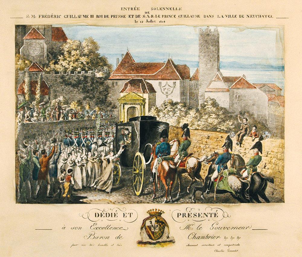 arrivée à Neuchâtel de Frédéric Guillaume III le 12 juillet 1814