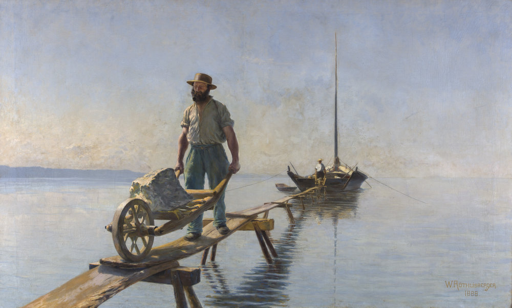 William Röthlisberger (1862-1943),  Barquiers déchargeant des pierres , 1888