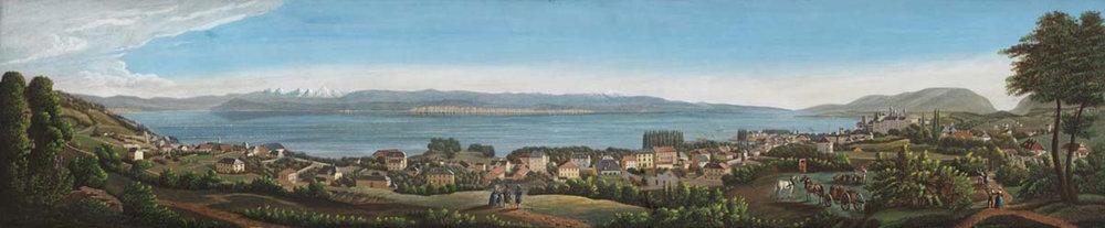 Panorama de Neuchâtel depuis le Crêt Taconnet, gouache de Jean-Henri Baumann, vers 1845
