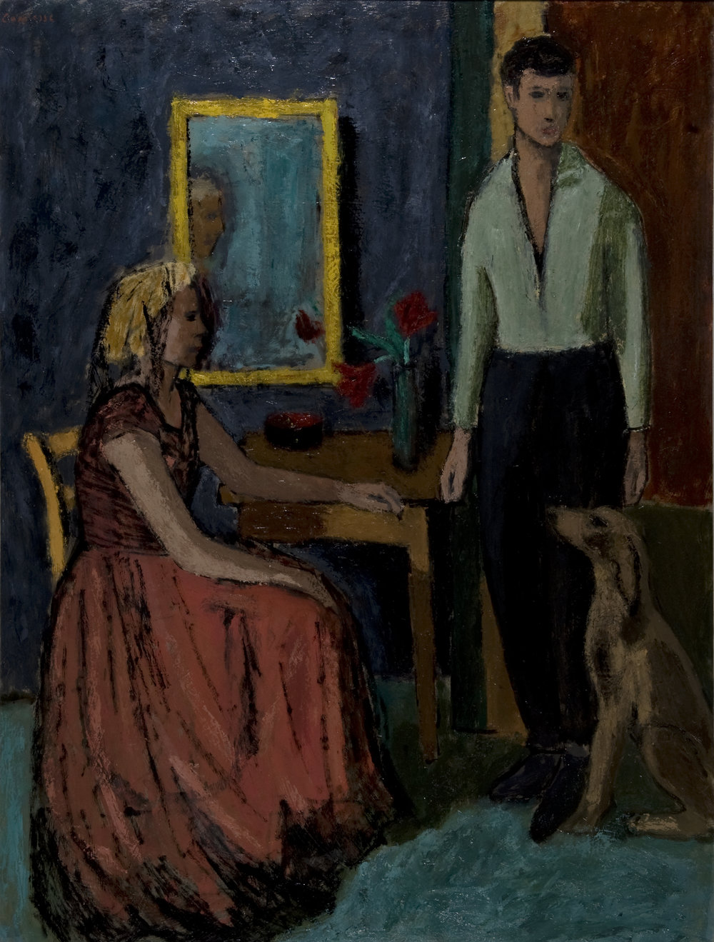 Intérieur avec deux personnages et un chien  (autoportrait avec Janébé)1961