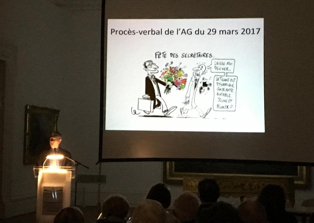 Philippe Du Pasquier a présidé la première partie de l'assemblée, avant de laisser la parole à la nouvelle présidente.