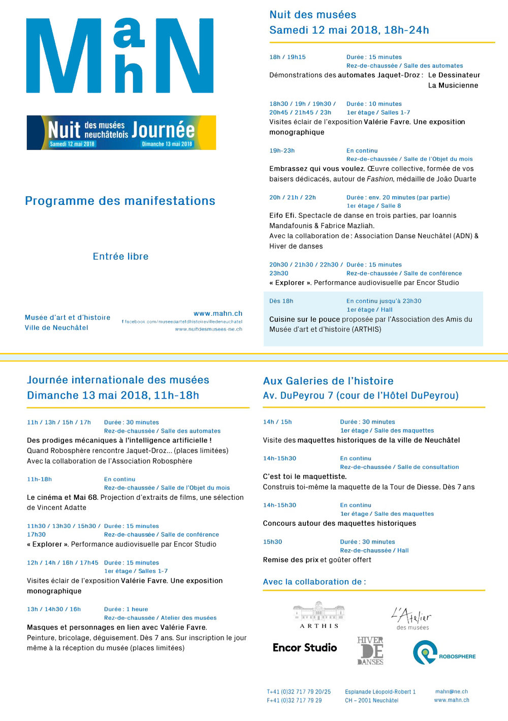 Programme du MahN pour la nuit des musées 2018, ainsi que pour la journée du lendemain