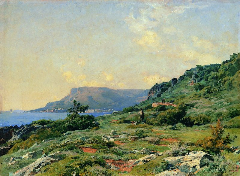 Charles-Edouard DuBois,  Vue du Cap Martin, Menton ,1881-82 Huile sur toile 41,5 x 57 cm