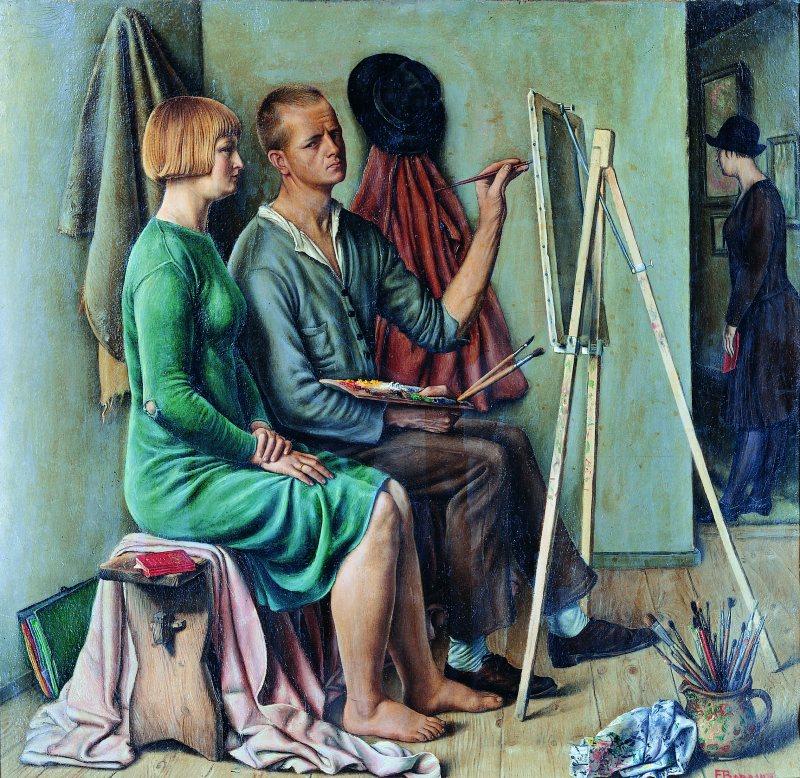 François Barraud,  L'atelier , 1928, Huile sur toile 56,5 x 58,5 cm