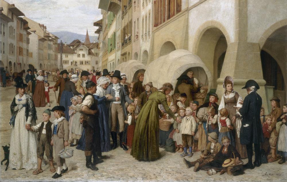 Albert Anker,  Pestalozzi et les orphelins unterwaldois à Morat  ou  Enfants des petits cantons en 1798 , 1876, Huile sur toile, 111×175 cm