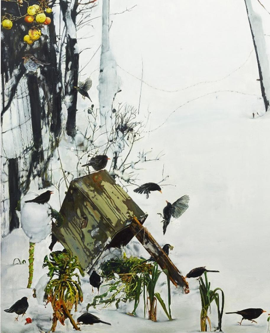 Léopold Rabus,  Merles dans la neige , 2015. Huile sur toile, 221 x 300 cm (détail)