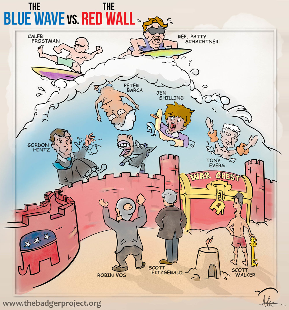 """After years in the political wilderness, state Democrats hope a """"Blue Wave"""" will help them retake government in November, as it has already propelled them to several wins this year. But Wisconsin Republicans refer to a """"Red Wall"""" which will allow them to withstand the wave. The Badger Project's cartoonist Alec offers his take.   # WIpolitics    # WisPolitics    # WIgov    #Wisconsin #BlueWave #BlueWave2018 #RedWall"""