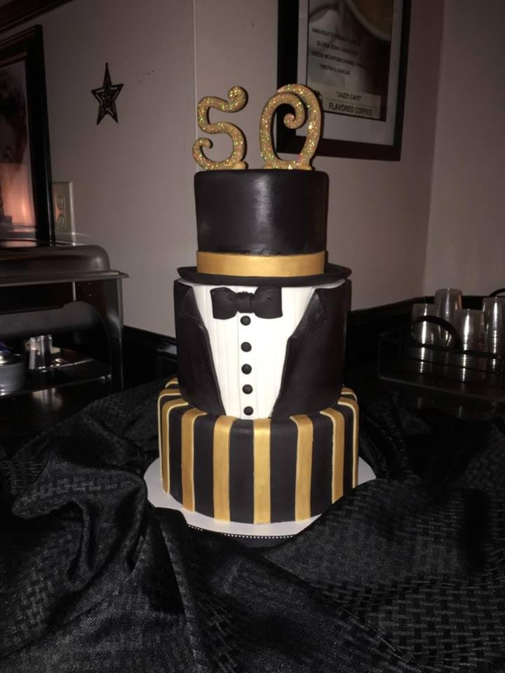 50 Birthday Cake - Tuxedo and Gold.jpg