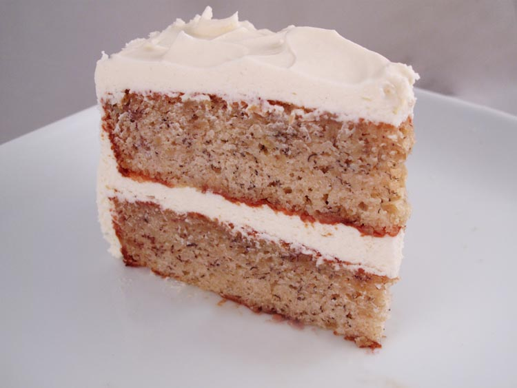 Banana cake  Old fashioned banana cake made with ripe bananas and filled with caramel buttercream or cream cheese frosting.