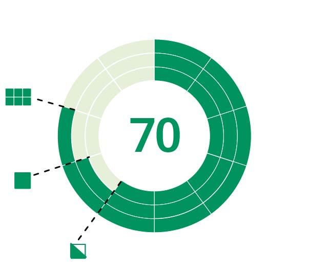 Sense N Insight Score mittaa tuotten myyntipotentiaalin hyllyssä (uloin kehä), pakkauksena (keskikehä) ja tuotteena (sisin kehä) suhteessa kilpailijoihin.