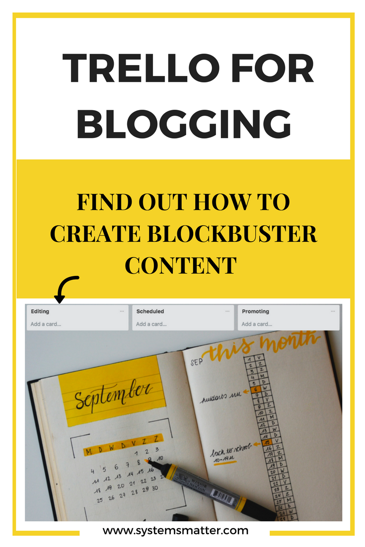 How to create blockbuster content by using Trello for blogging. Creating compelling content consistently is a breeze with Trello and this systematic approach. #trello #blogging #smallbusinesstools #bloggingtips #projectmanagement