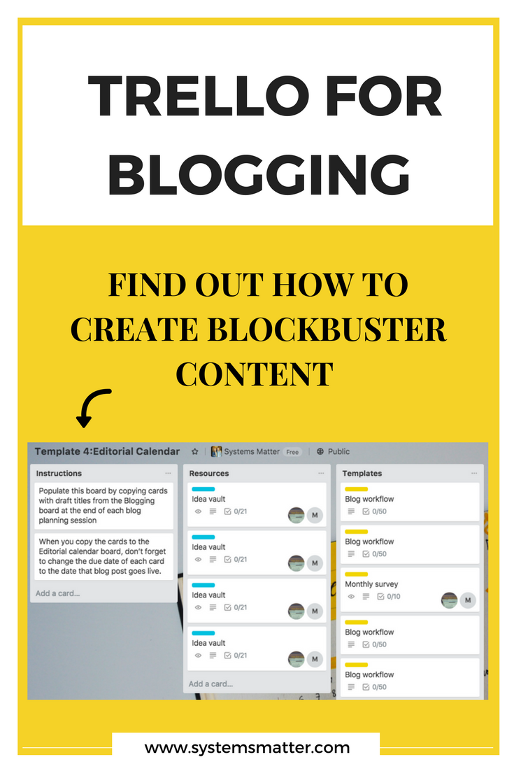 How to blog consistently by using Trello for blogging. Trello is the perfect tool for bloggers and small business owners who want to consistently create content their audience loves. Find out exactly how to use Trello to create blockbuster blog content. #contentmarketing #trello #productivity #smallbusiness #blogging