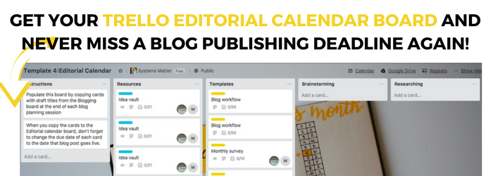 Grab your Trello editorial calendar board template