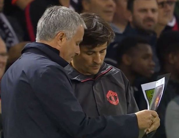 Jose Mourinho and assistant with his ringbinder on the touchline