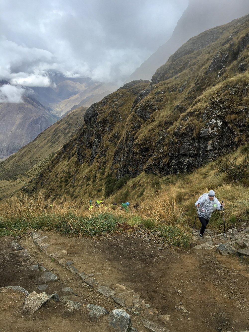 Last few steps up to  Warmiwañusca , or Dead Woman's Pass.
