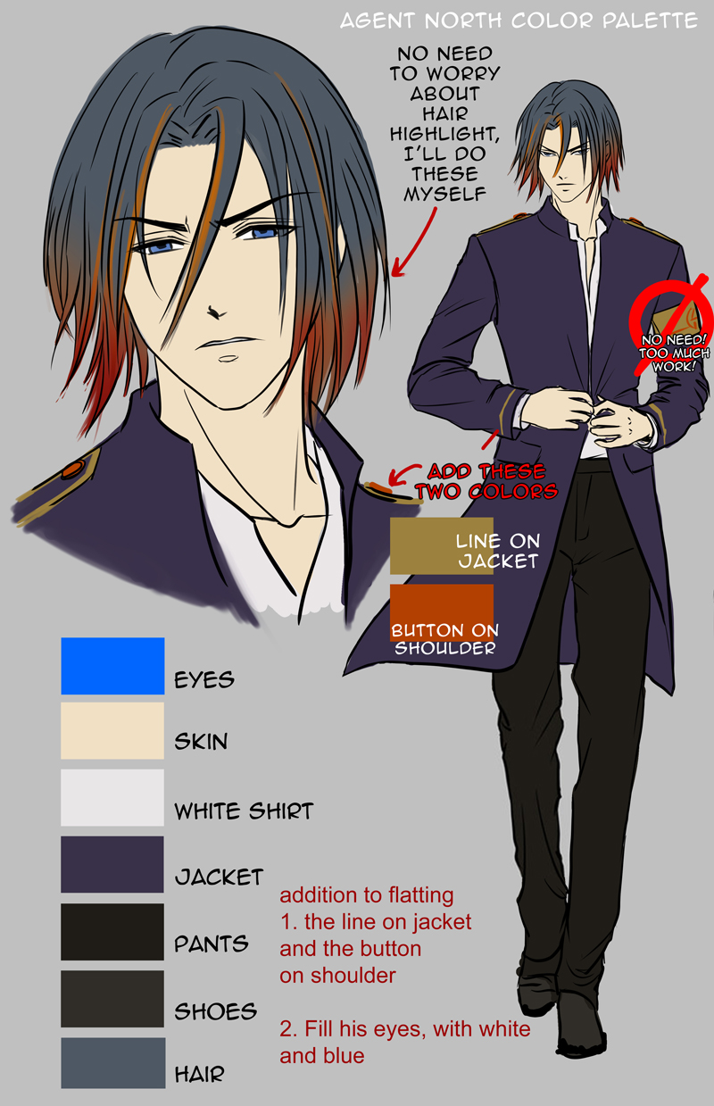 Lead Male character, just need flats on these color listed here, the jacket will not be needed in majority of future chapter