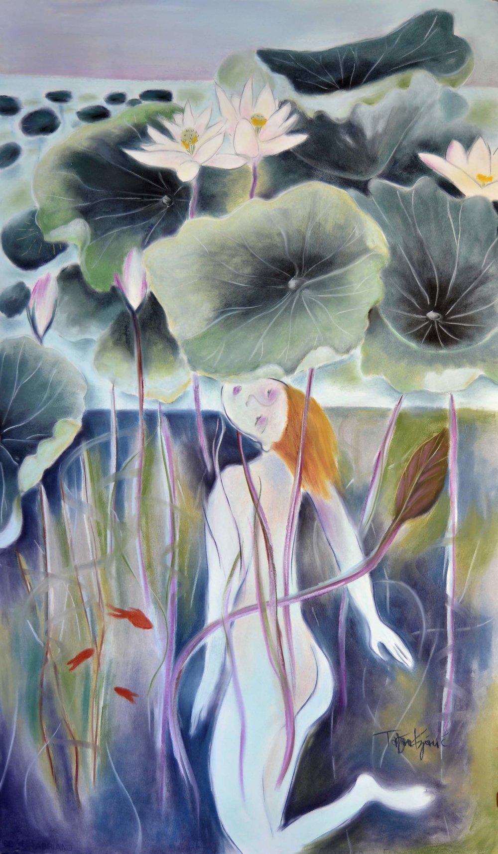 """Tatjana Krizmanic  ,  """"Lotus Pond Diver""""  , pastel on paper, 55"""" X 32"""""""