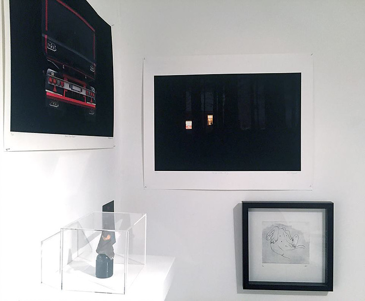 "Installation view showing ""House With Dog"" and ""Rock Truck, Black"" in group show at Ekco London (photo Roberto Ekholm)"