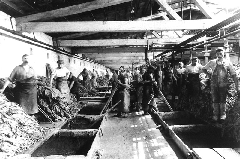 Workers in the vat room of Vici Kid factory in Frankford. Image Credit: Pennsylvania Museum and Historical Commission.