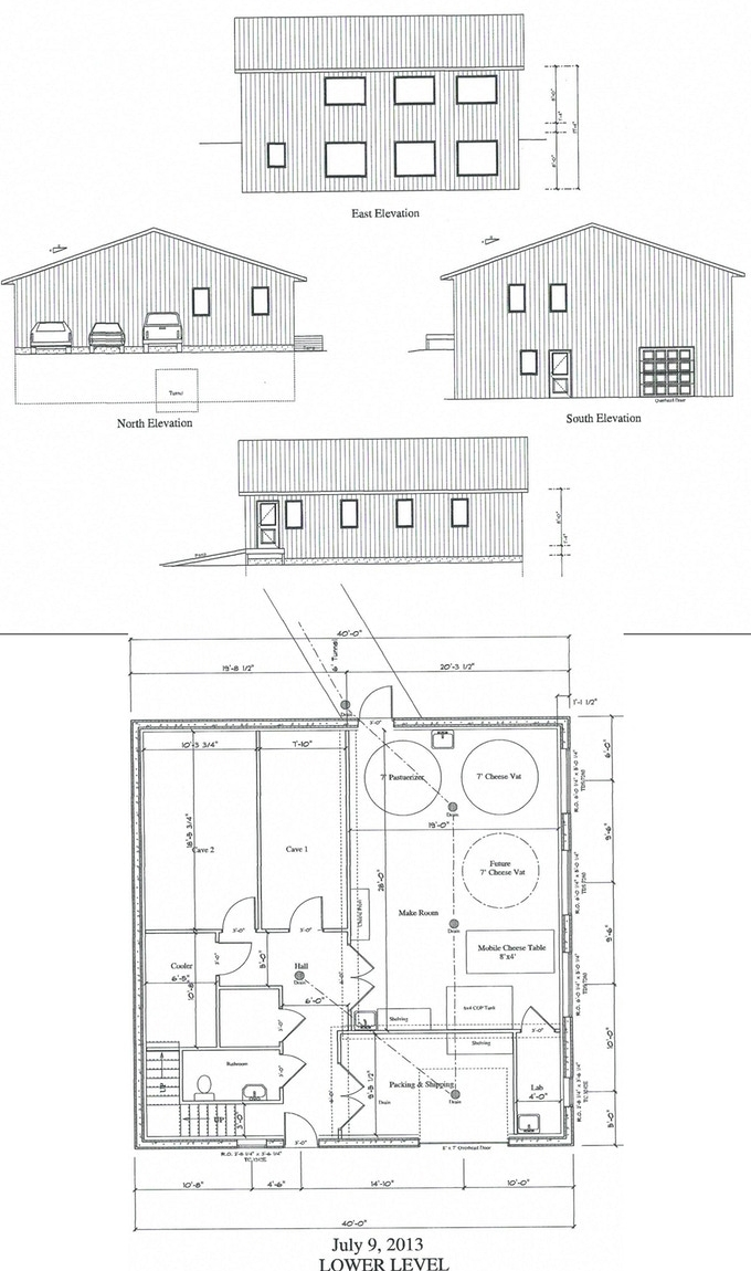Construction and elevation plans for the Redhead Creamery.