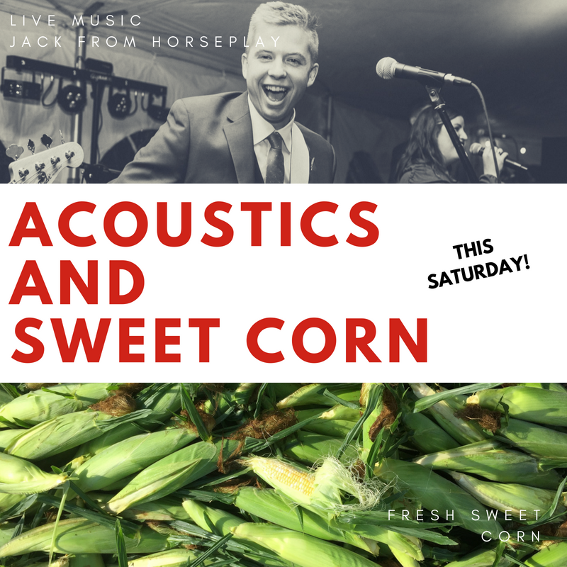 We're celebrating the beginning of sweet corn harvest with live, acoustic music by Jack of Horseplay. Come for the 12:30 dairy farm tour and stay for some pan fried cheese curds, a beverage and musical entertainment on the farm!  Music will begin at 1:00pm and continue to 4:00pm.
