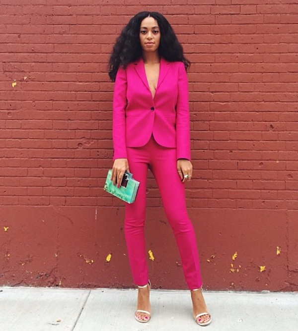 Solange in Pink Suit