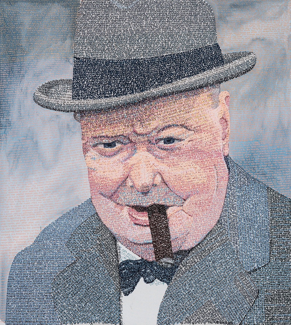 """""""Success is not final, failure is not fatal: it is the courage to continue that counts."""" - Winston Churchill in His Own Words (2018)Acrylic Paint on Oil Paper, 32x38in"""