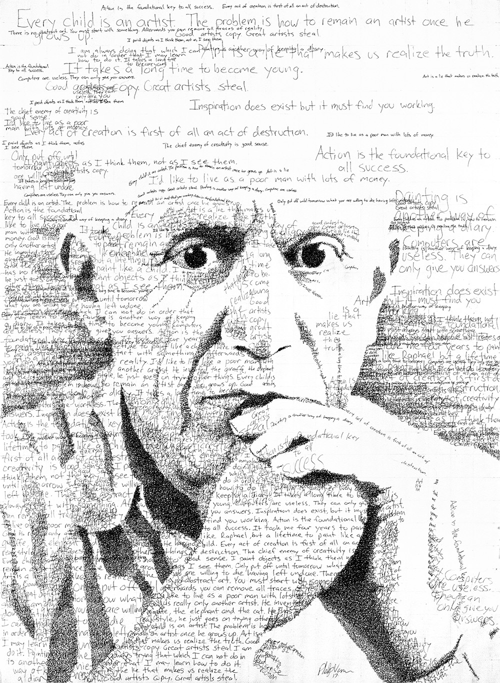 """""""Inspiration does exist but it must find you working."""" - Pablo Picasso in His Own Words (2017)Ink on Watercolor Paper, 22x30in"""