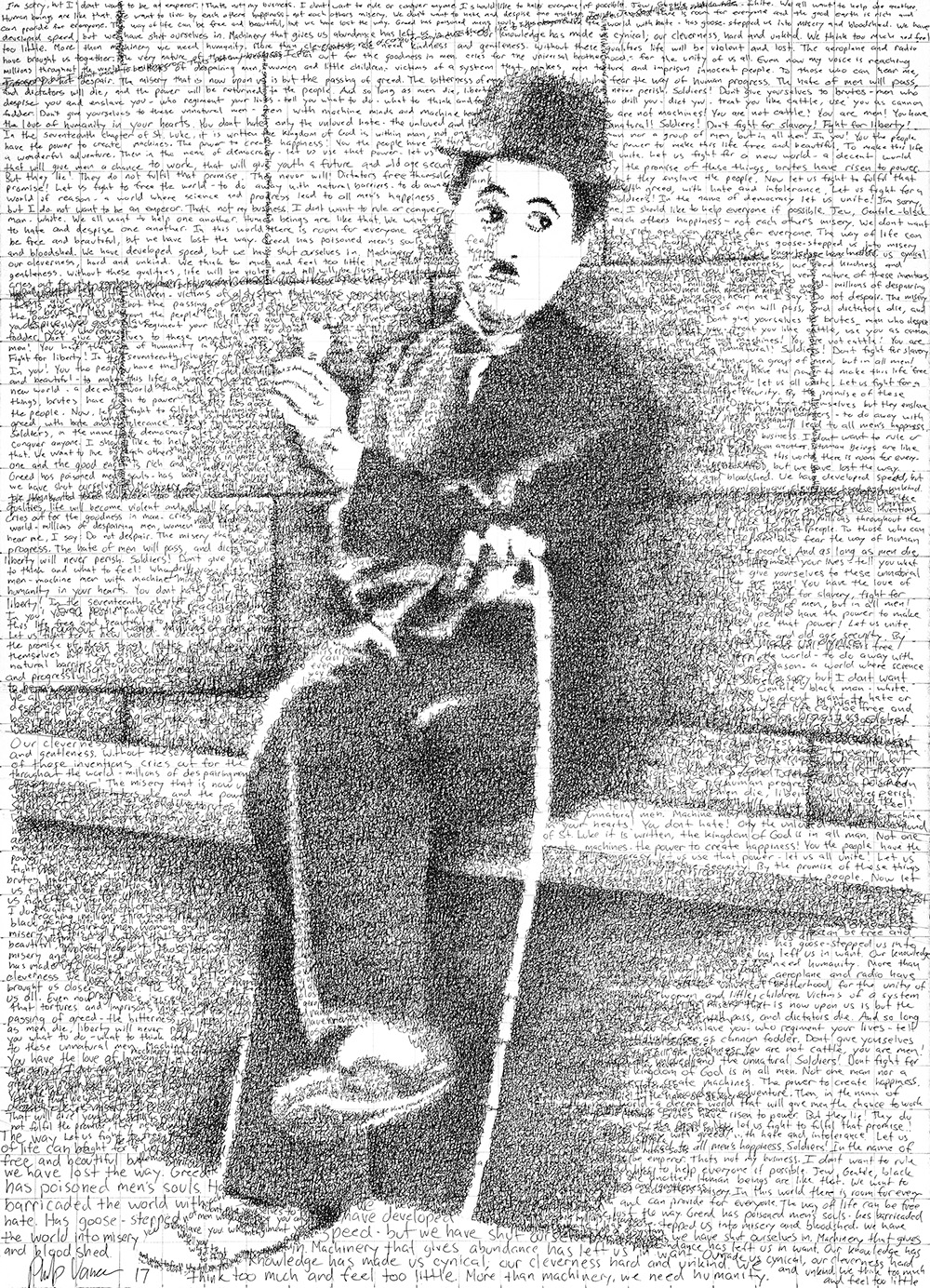 """""""The way of life can be free and beautiful, but we have lost the way."""" - Charlie Chaplin in His Own Words (2017)Ink on Watercolor Paper, 22x30in"""