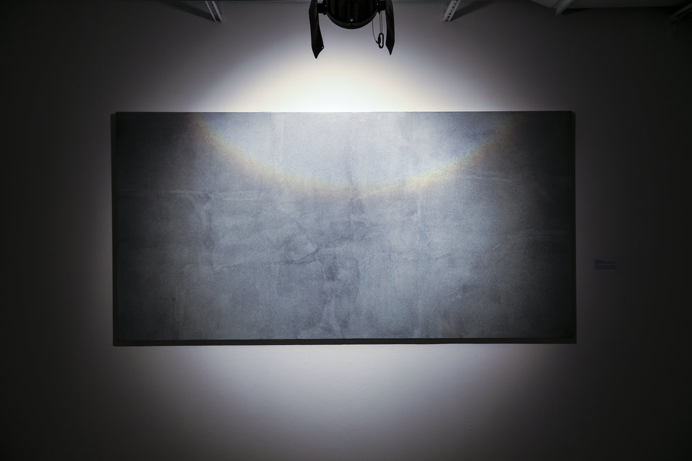 "Brocken Spectre    2016.   Retroreflective glass micro spheres, latex, and acrylic on wood panel, lit with Halogen fresnel light.   48""x 96"""