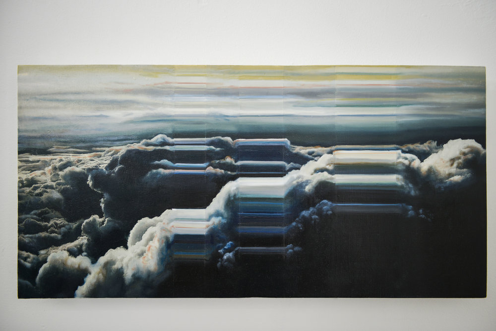 "Atmospheric Topology No. 1    2016       Oil and acrylic photo transfers on wood.  12""x 24"""