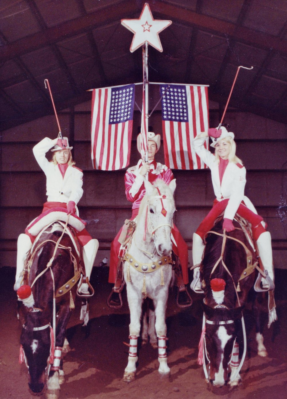 (left to right) Cindy Parsons, Robert Strawn Jr., and Melody Mundell in their Dressage parade costumes, circa 1969