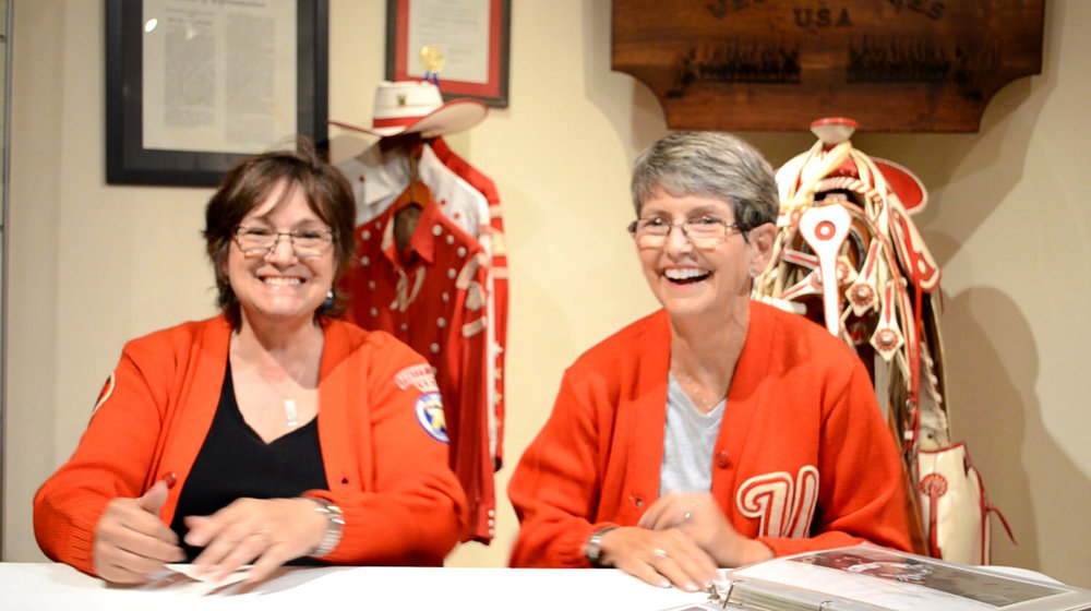 Alumni Debbie Easley Emmert (left) and Sharon Easley Walker (right) chatted with us about horses, their parents, road trips, and other Westernaires capers, during Alumni Week 2017.