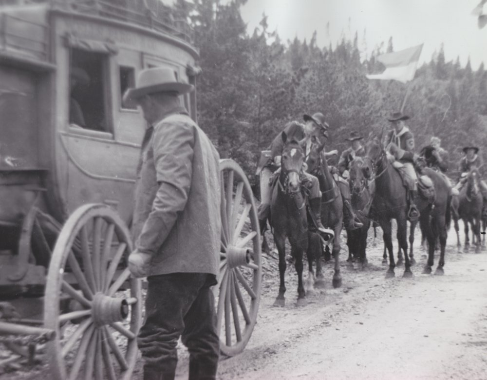 The Overland Stagecoach and Westernaires Cavalry team await the shooting of another scene in  Stagecoach  (1966).  The first rider is Westernaire alumnus Harold Smethills riding Lady Anne.
