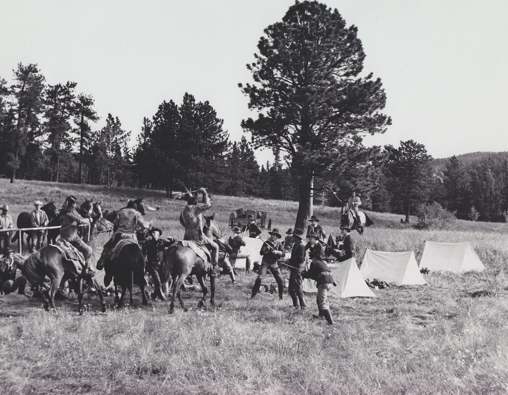 Westernaires Cavalry receives direction for the opening scenes of  Stagecoach  (1966) whereby settlers and Cavalry troops are attacked by Sioux.