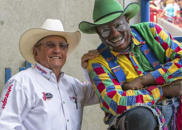 Hadley Barrett and Barrelman Leon Coffee in Greeley, Colorado for the 2012 Greeley Stampede.  Westernaires is proud to call both of these gentlemen a friend; and both are legends in their own right.  Photo courtesy of  The Fence Post .