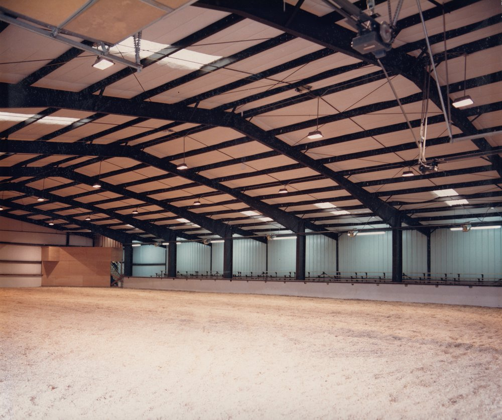 The interior of the gorgeous new Red Arena, dedicated in November 15th, 1986.  A memorial to Maria, Big Red, and Hot Shot was placed in the concrete flooring of the Red Arena, where it stands to this day.