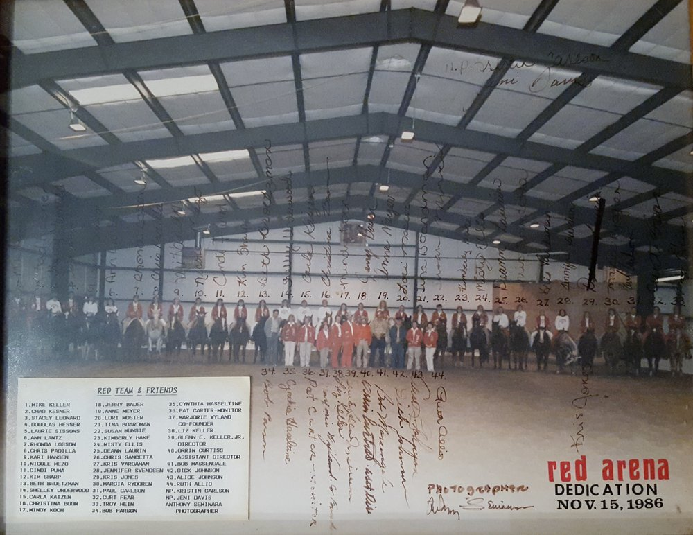 Westernaires Varsity Big Red Team, the Westernaires board of directors, and other select volunteers were on hand to dedicate the new Red Arena on November 15, 1986.  The construction was completed and the facility was ready for practices and performances before the inclement Winter weather arrived, thanks to the hard work of many volunteers.