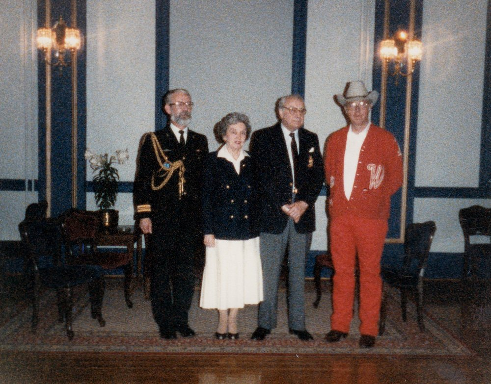 Glen E. Keller, Jr. (right), Director of Westernaires, with Canadian dignitaries, including the  Right Honourable Jeanne Sauvé, Governor General of Canad a, and her husband,  Maurice Sauvé , then Chancellor of the  University of Ottawa  in 1986.