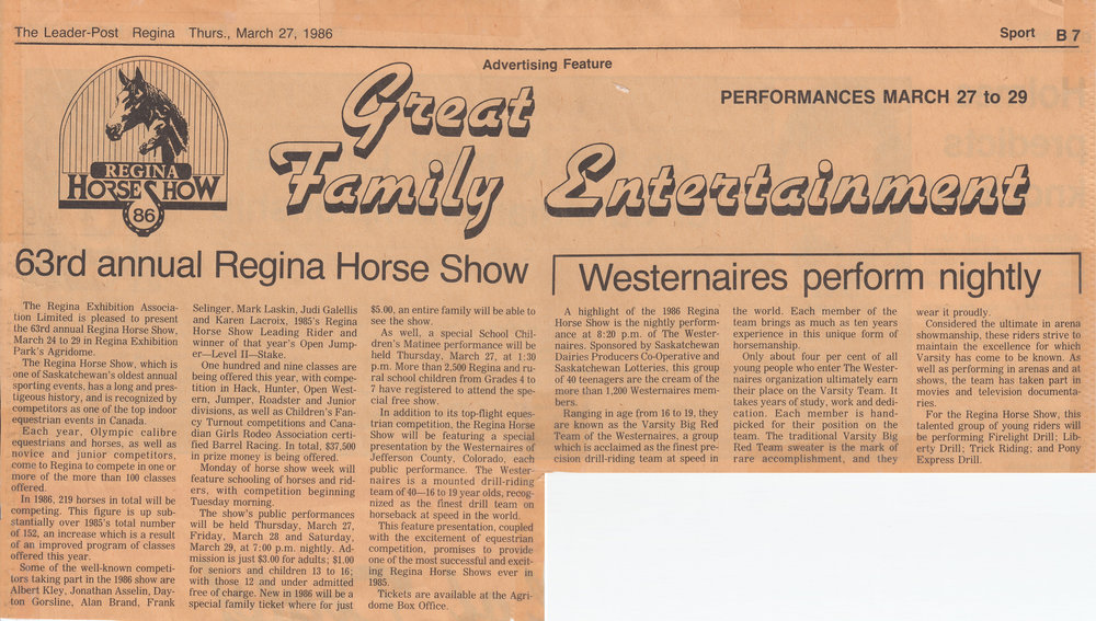 Regina   Leader-Post  's article, dated March 27th, 1986